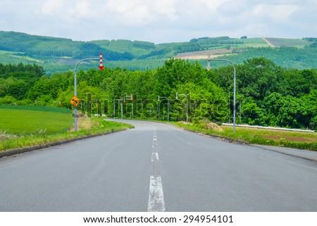 Biei beautiful Patchwork Road in hokkaido - stock photo