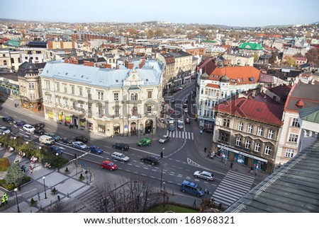 BIELSKO-BIALA, POLAND - OCTOBER 25: Traffic on the one of the main street of the city Stojalowskiego street, view from castle of Sulkowski; October 25, 2013 in Bielsko-Biala, Poland.