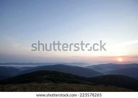 Bieszczady Mountains. Poland .Sunrise.  - stock photo