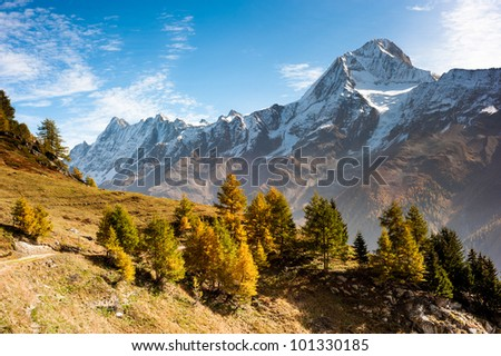 Bietschorn mountain peak in autumn. View from Laucheralp, Loetschental, Wallis, Switzerland - stock photo