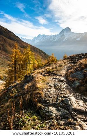 Bietschorn mountain peak in autumn with hiking trail. View from Laucheralp, Loetschental, Wallis, Switzerland - stock photo
