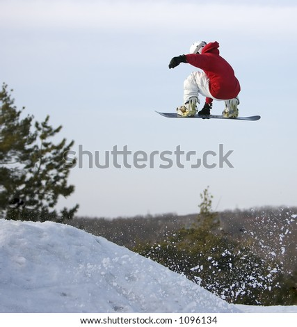 Big Air Snowboarder - stock photo