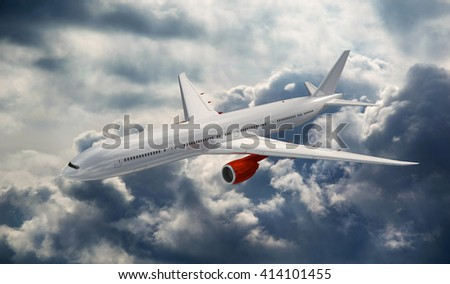 Big airplane above the clouds. Airliner in the heaven. Commercial plane on the dramatic storm sky. - stock photo