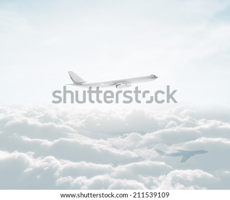 big airplane in the sky - stock photo