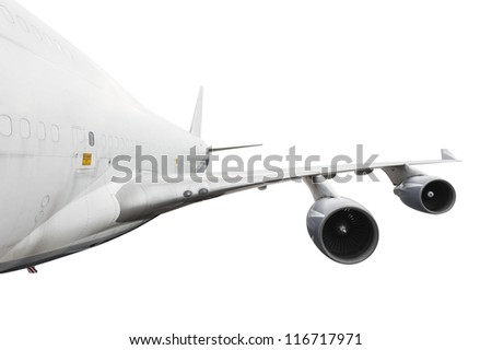 big airplane on white with clipping path - stock photo