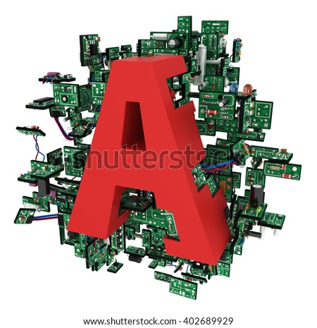 Big alphabet letter, with electronic circuit elements, isolated, 3d illustration