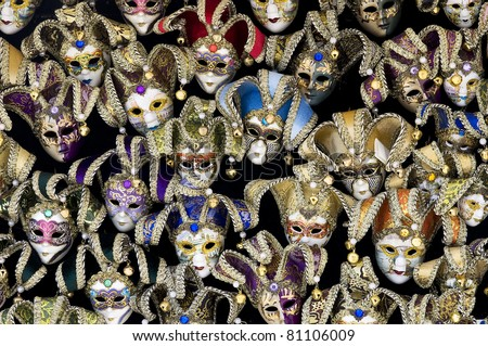 Big amount of traditional venetian carnival masks. Venice, Italy. - stock photo