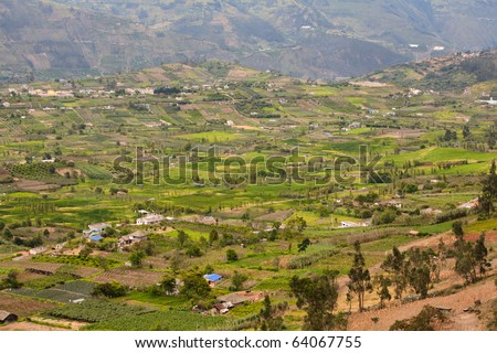 Big and beautiful valley in Ecuadors Andean mountains close to Banos city. - stock photo
