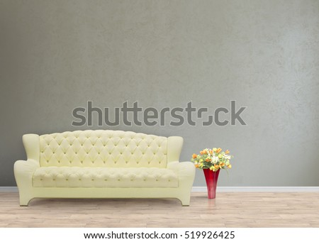 Big and comfortable living room with yellow sofa in luxury mansion