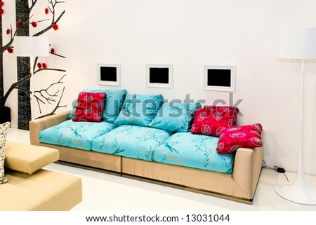 Big and modern living area with sofa and decoration
