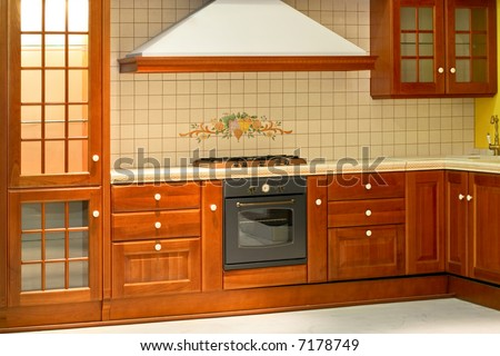 Big and new traditional look wooden kitchen - stock photo