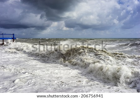 Big and powerful sea waves during the storm - stock photo