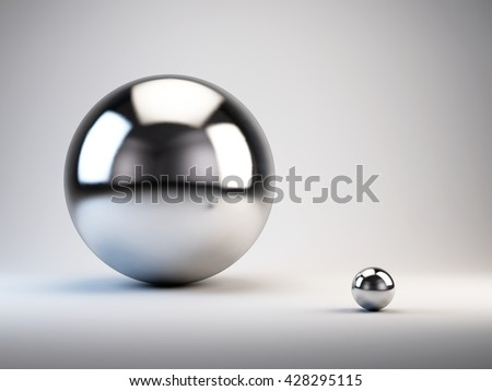 Big and small concept. big and small spheres. 3d render
