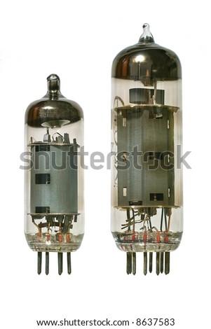 Big and small glass vacuum radio tubes. Isolated image on white background - stock photo