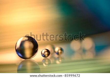big and small marbles - stock photo