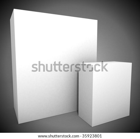 Big and small package boxes - stock photo