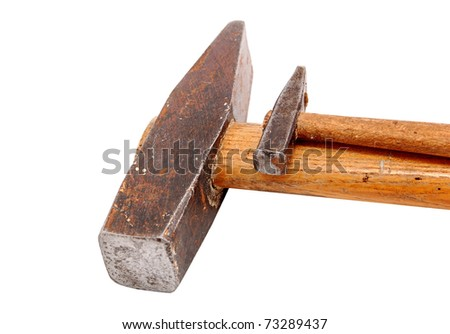 Big and small rusty hammer, isolated on white background - stock photo