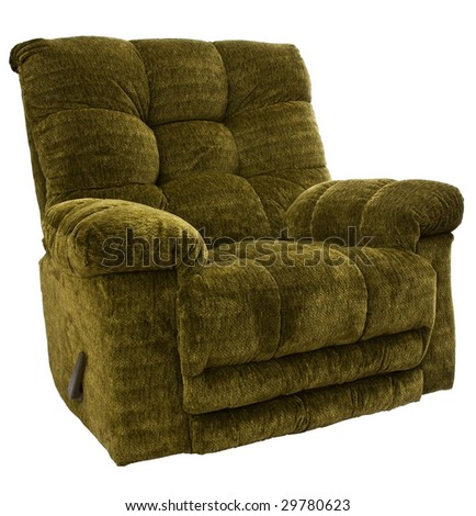 Big and Tall Sage Green Rocker Recliner Chair - stock photo