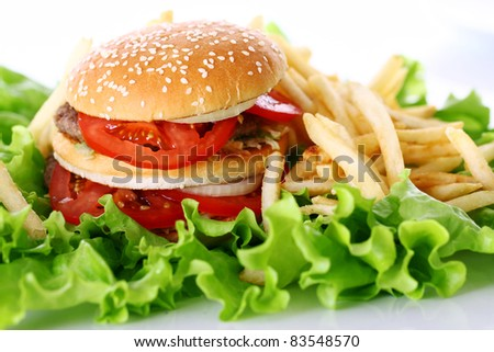 Big and tasty burger with fires on the salad leaves - stock photo
