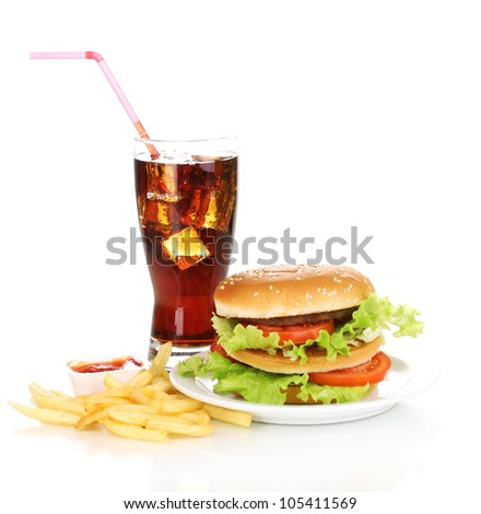Big and tasty hamburger on plate with cola and fried potatoes isolated on white - stock photo