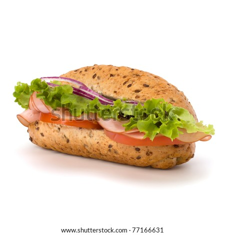 Big appetizing  fast food baguette sandwich with lettuce, tomato, smoked ham and cheese isolated on white background. Junk food - stock photo