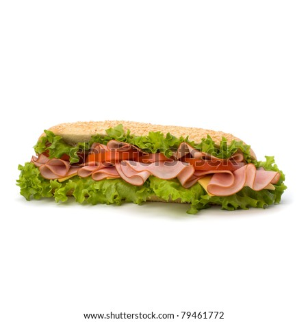 Big appetizing  fast food baguette sandwich with lettuce, tomato, smoked ham and cheese isolated on white background. Junk food . - stock photo