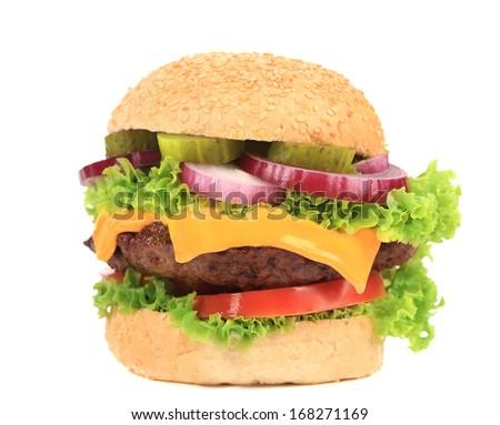 Big appetizing fast food hamburger. Isolated on a white background. - stock photo
