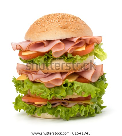 Big appetizing fast food sandwich with lettuce, tomato, smoked ham and cheese isolated on white background. Junk food hamburger. - stock photo