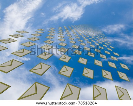 Big array of letter envelopes flying away from a viewer into the cloudy sky disappearing as going farther - stock photo