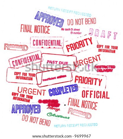 Big Assortment of Business and Professional Rubber Stamped Words and Phrases - stock photo