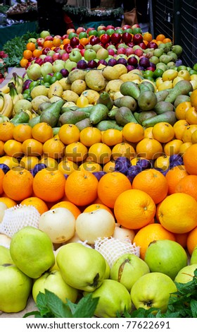 Big assortment of fresh organically grown fruits - stock photo