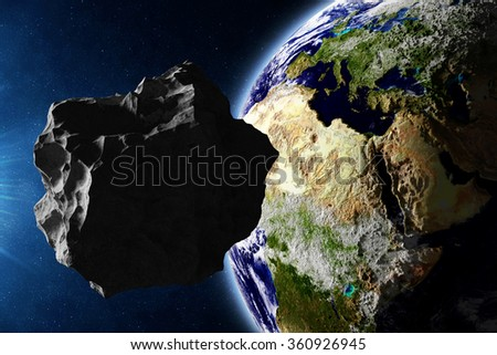 Big Asteroid Closing to the Earth Planet. Apocalypse Concept. Elements of this image furnished by NASA