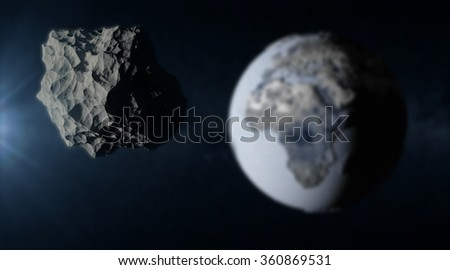 Big Asteroid Closing to the Frozen Earth Planet. Apocalypse Concept. Elements of this image furnished by NASA. (Focus on the Asteroid) - stock photo