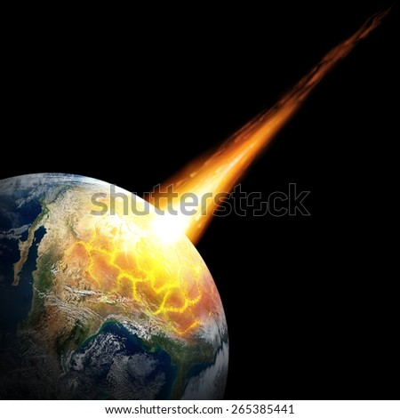 Big asteroid crashing on the surface of an Earth planet. Elements of this image furnished by NASA. - stock photo