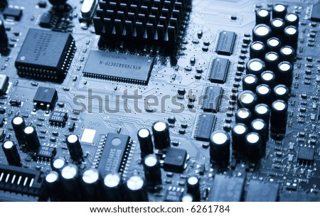 Big audio computer chip. Blue tint. - stock photo