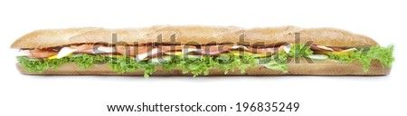 Big Baguette Sandwich on white background - stock photo
