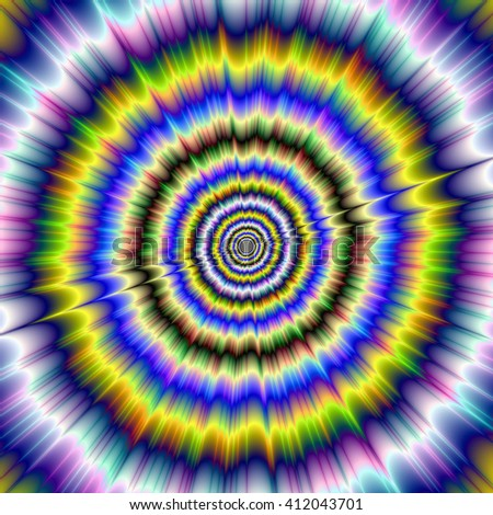 Big Bang / An abstract fractal image with a hypnotic optical illusion of movement within the color explosion design in blue, yellow, green and violet.