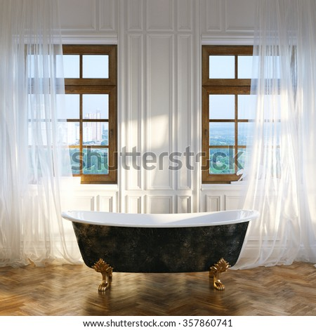 Big bathroom with vintage iron bathtub in center and big windows in new classic interior. 3D render  - stock photo