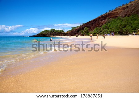 Big Beach at Makena State Park in Maui Hawaii - stock photo