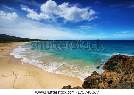 Big beach of Makena beach State park, Maui, Hawaii - stock photo