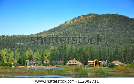 Big Bear Lake Sunrise - Big Bear, California, about 2 hours East of Los Angeles - stock photo