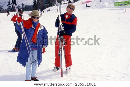 BIG BEAR SKI RESORT, CALIFORNIA - exact date unknown - circa 1990 - Mary Ann Mobley (Miss America 1959) and Gary Collins at a celebrity ski resort - stock photo