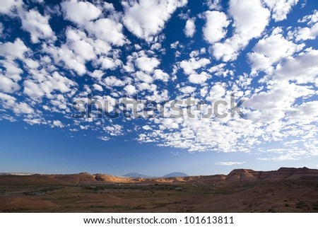 big beautiful amazing sky with fluffly cloud formations - stock photo