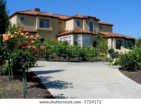 Pink stucco southwestern style house stock photo 4088473 for Huge beautiful houses