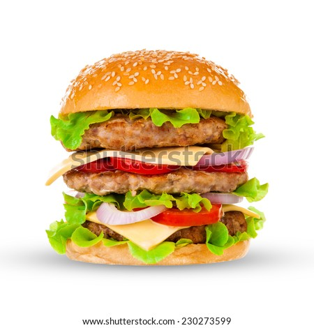 Big beautiful juicy burger with meat and vegetables. Isolated on white background - stock photo