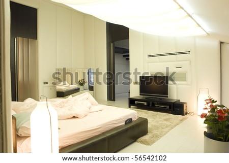 big bedroom in white color - stock photo
