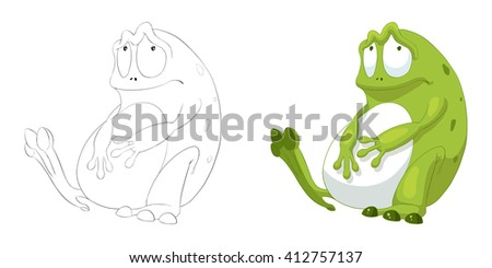 Big Belly Frog Coloring Book Outline Sketch Animal Mascot Game Character Design