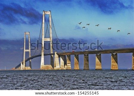 Big Belt Bridge from Funen to Sealand a sunny day - stock photo
