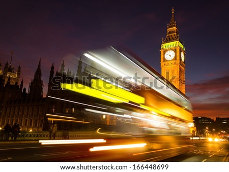 Big Ben and a bus - stock photo