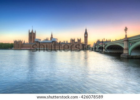 Big Ben and a Palace in London at sunset, UK - stock photo